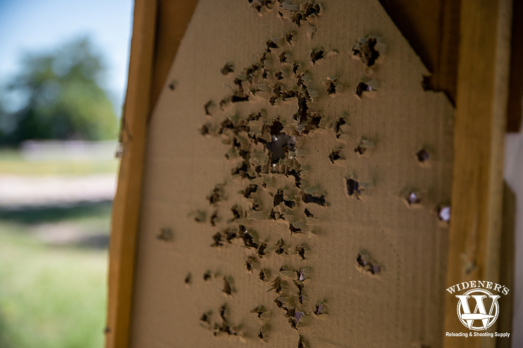 a photo of a carboard target outdoors at a gun range with holes from ball ammo