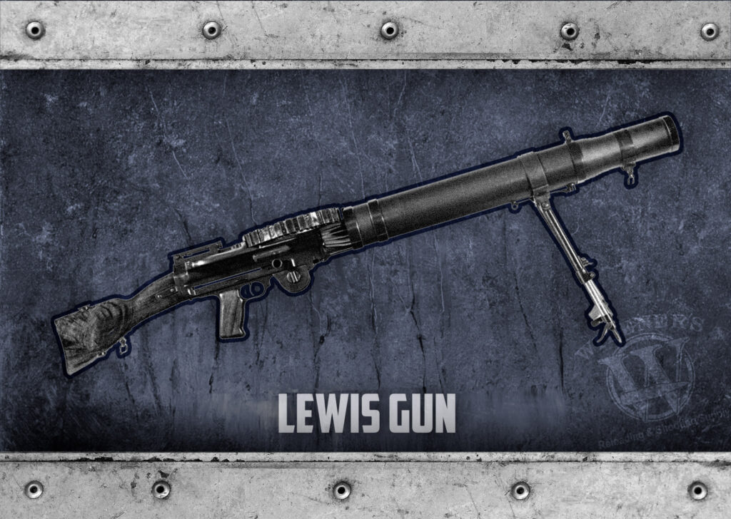 a photo of the lewis gun used in WWI