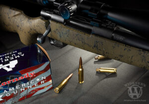 photo of a bolt action rifle and centerfire ammo