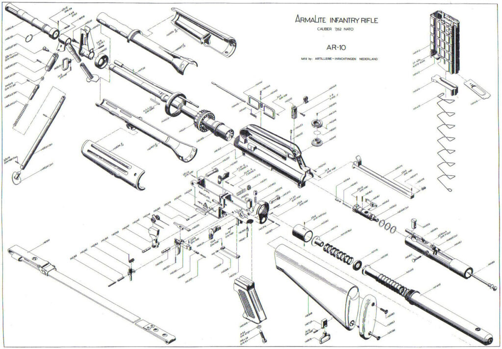 a schematic of the armalite ar10 rifle