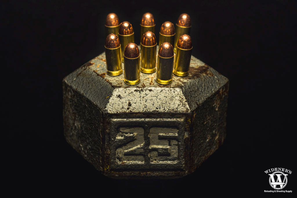 a photo of 45 acp ammo explaining bullet weight