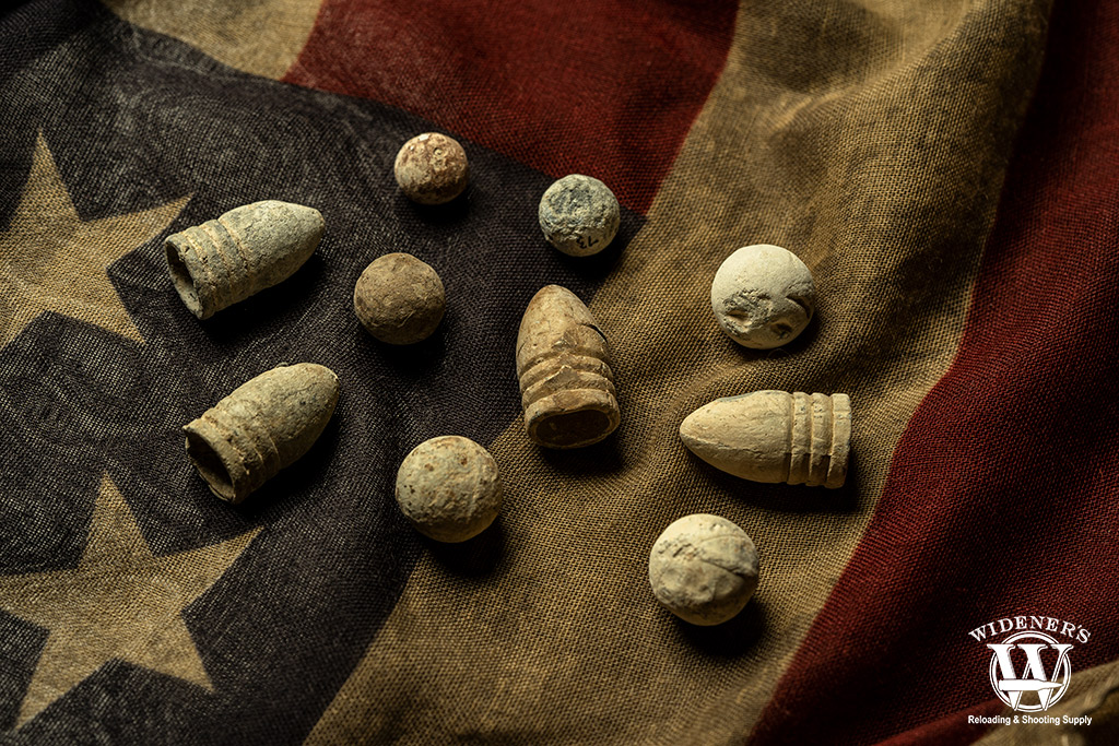 photo of civil war bullets on american flag background