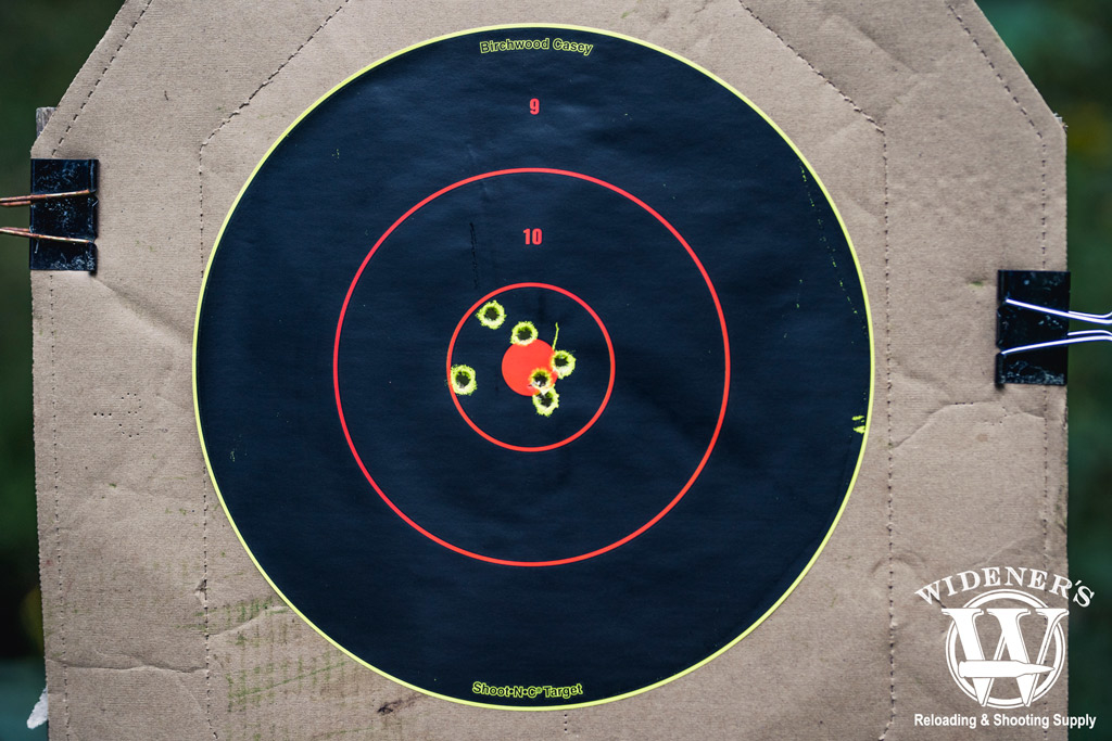 a photo of a target shot with 7.62x39 ammo at 25 yards