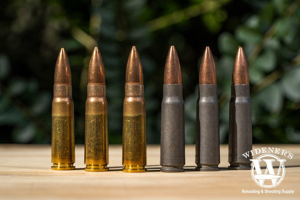 a photo of steel and brass 7.62x39 ammo