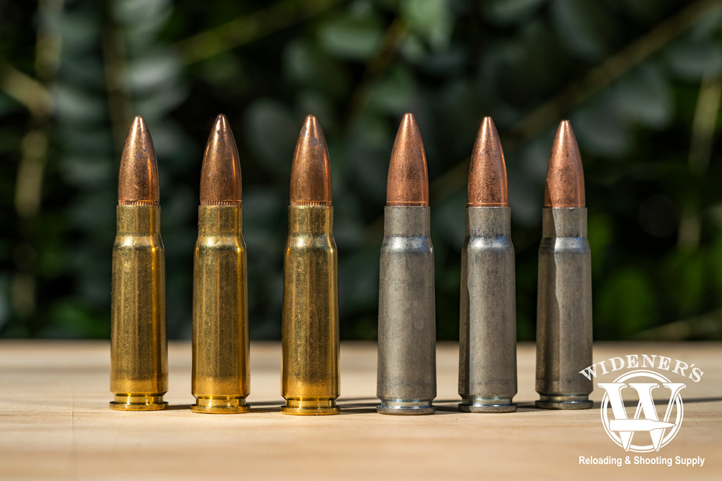 photo of steel and brass 7.62x39 bullets side by side outdoors
