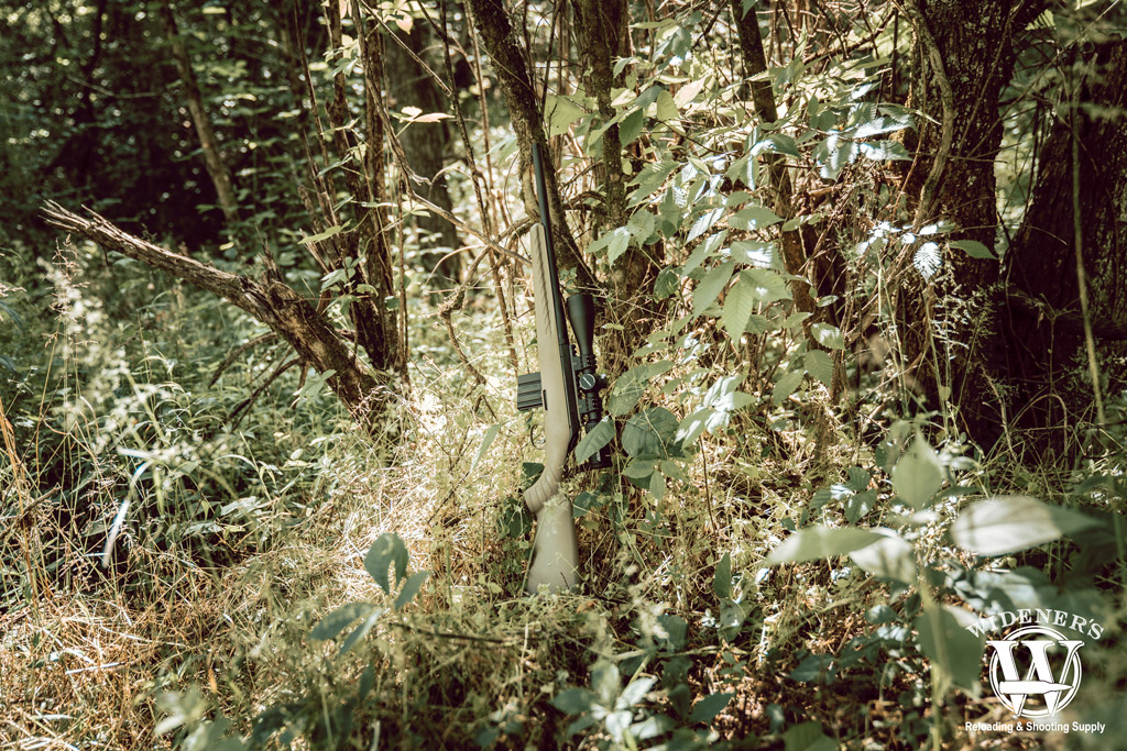 photo of a ruger american rifle chambered in 350 legend leaning against a tree