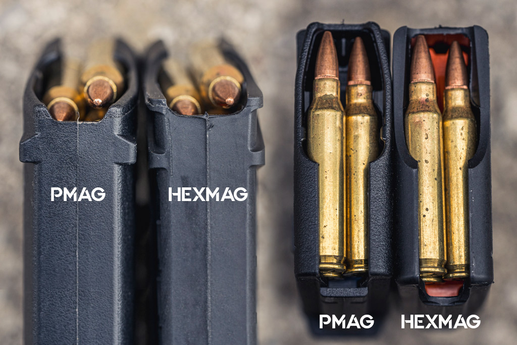 a photo comparing the feed lip of the pmag vs hexmag