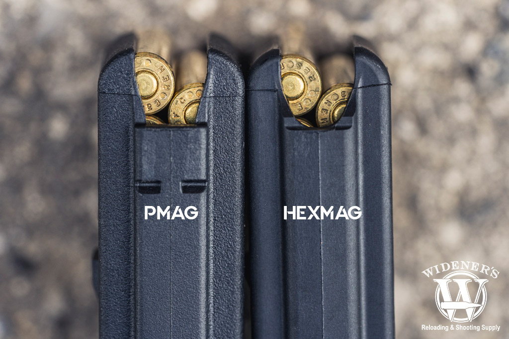 a photo of the backend of a polymer gun magazine