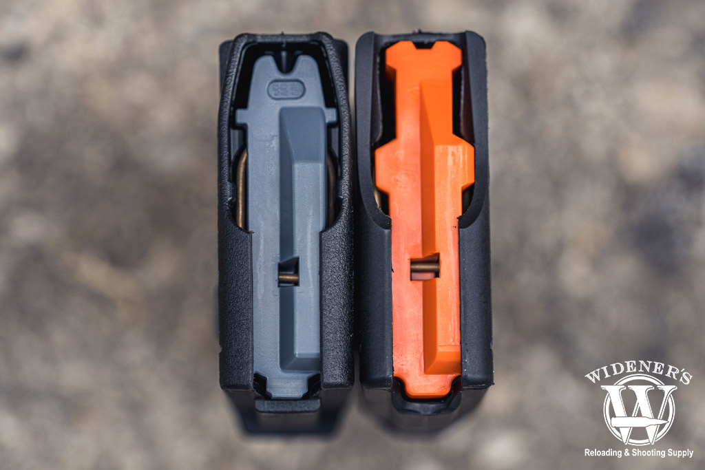 a photo comparing the magazine follower of pmag vs hexmag