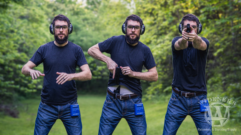 a photo of a man demonstrating how to draw a handgun from a holster