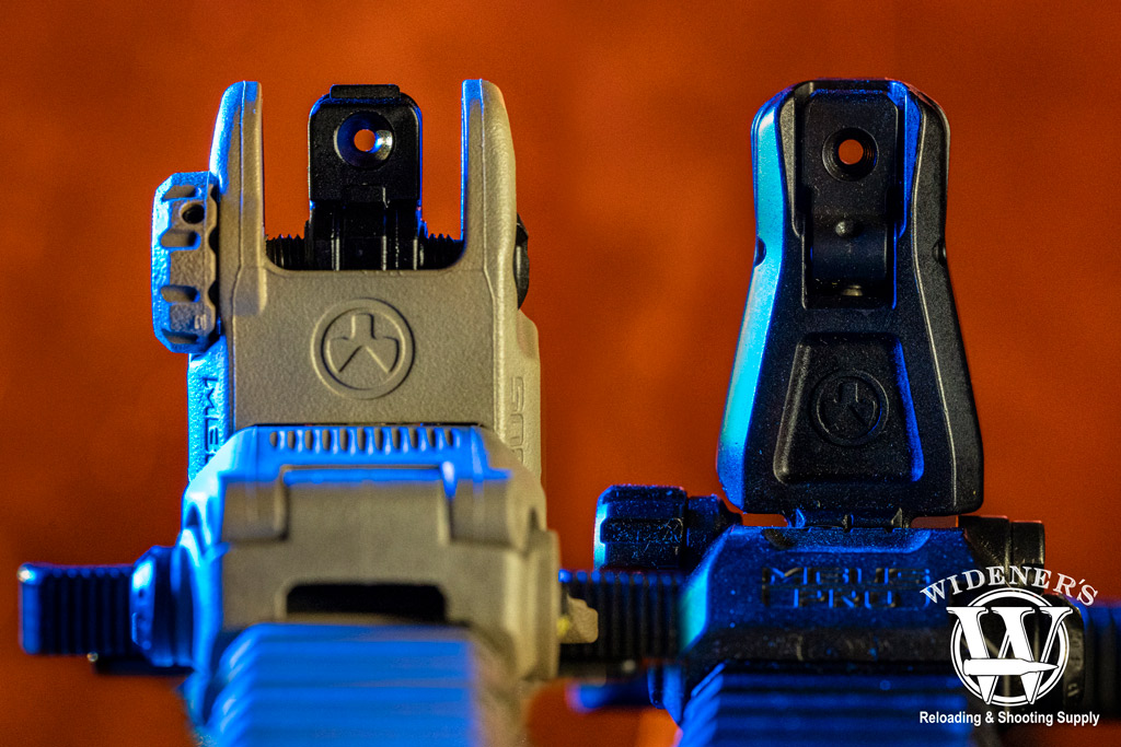 a photo comparing the rear sights of Magpul MBUS VS MBUS Pro