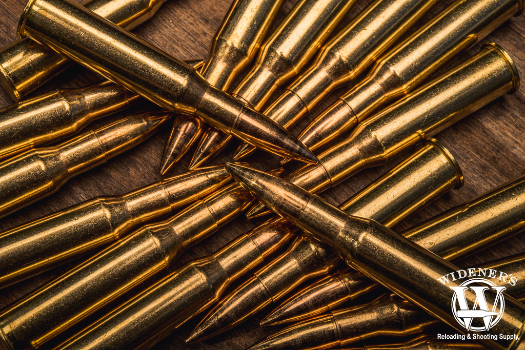 A macro photo of the 7.62x54r rifle cartridge