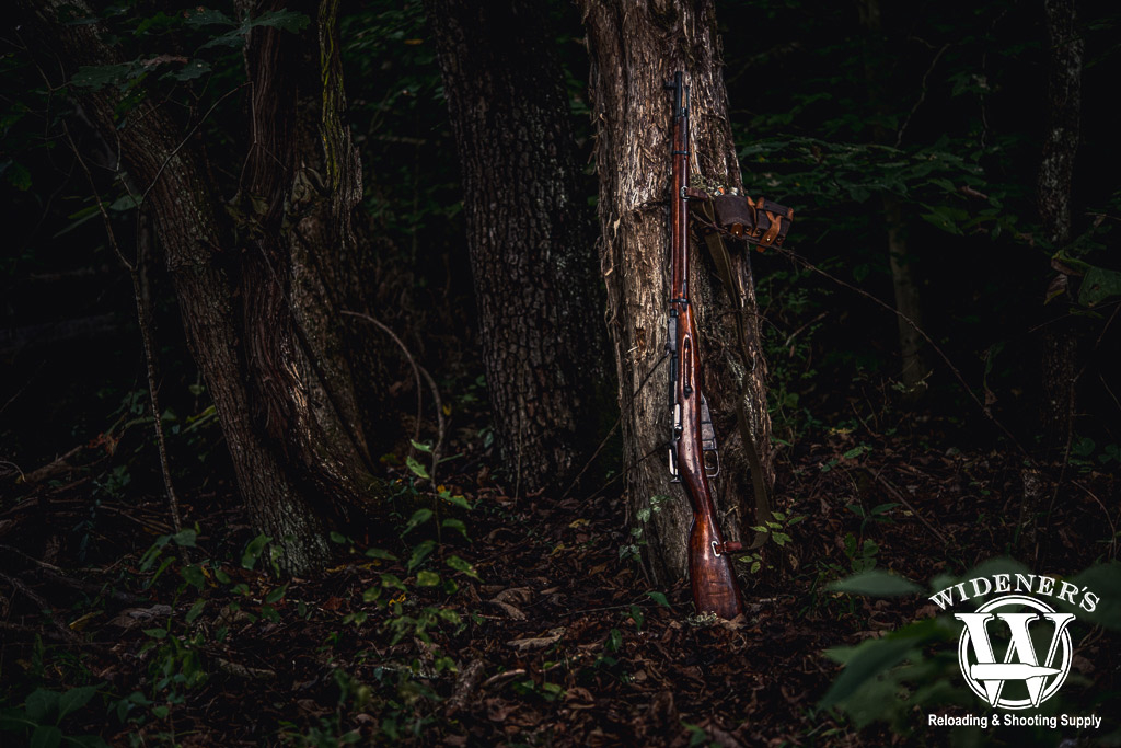 a photo of a m91/30 mosin nagant rifle leaning against a tree in the woods