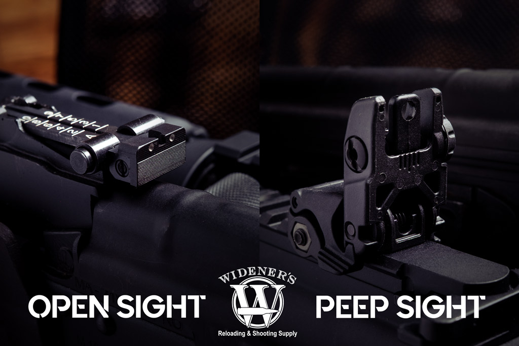 a photo comparing an open rear gun sight to a rear peep sight
