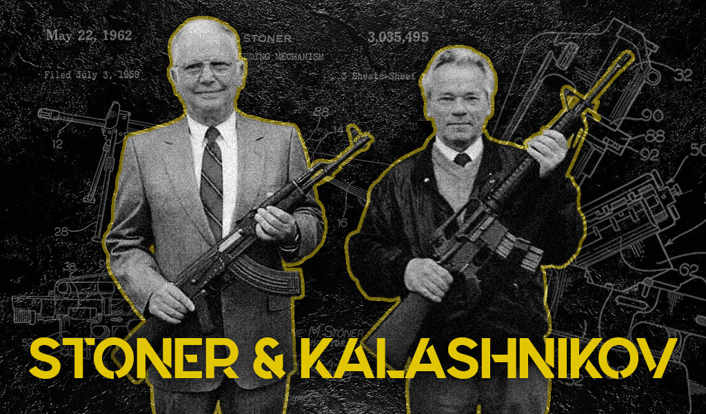 a photo of eugene stoner and mikhail kalashnikov