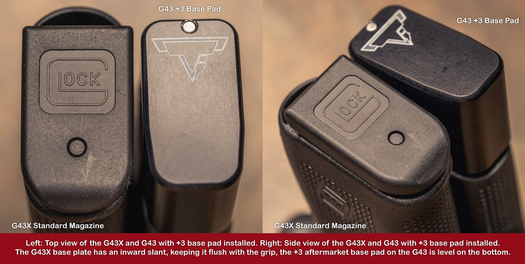 a comparison of the taran tactical base pad and magazine of the glock 43 vs 43x pistols