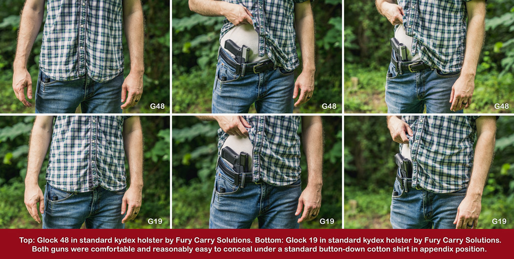 a concealed carry comparison between the glock 48 and the glock 19 handguns