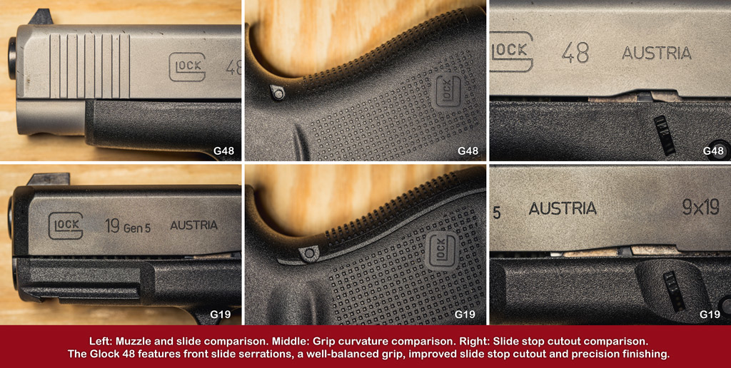 a photo comparison of the ergonomics of glock 48 vs 19