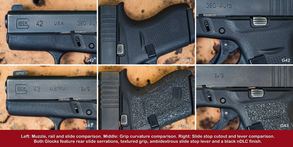 a series of photos comparing the glock 42 and glock 43 pistol ergonomics