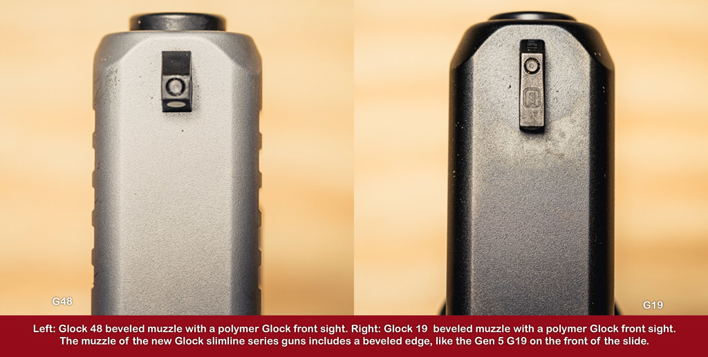 a photo comparison of glock pistol muzzles