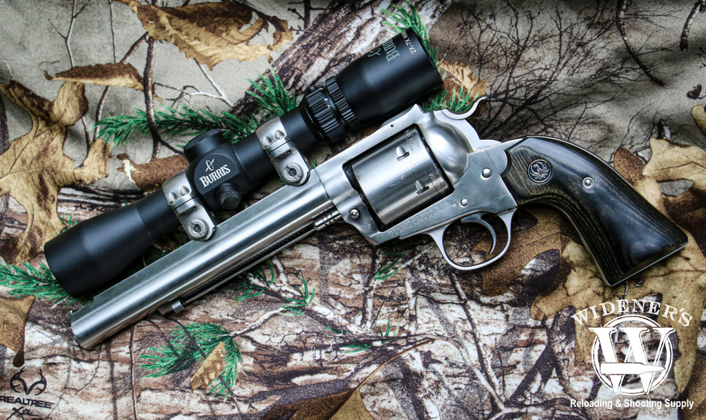 a photo of a ruger blackhawk revolver with hunting scope