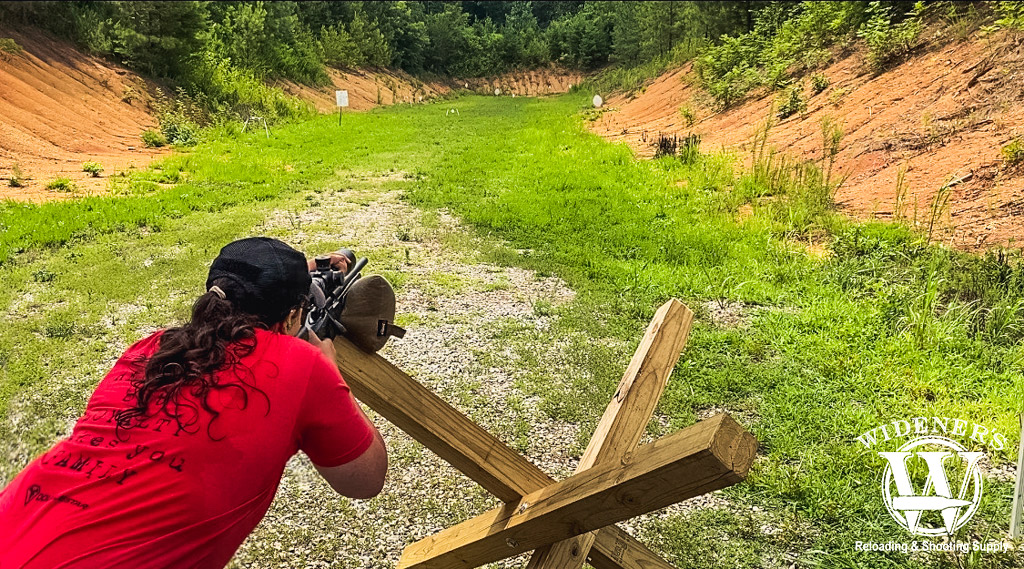 The author shooting a 22LR rifle at a NRL22 match