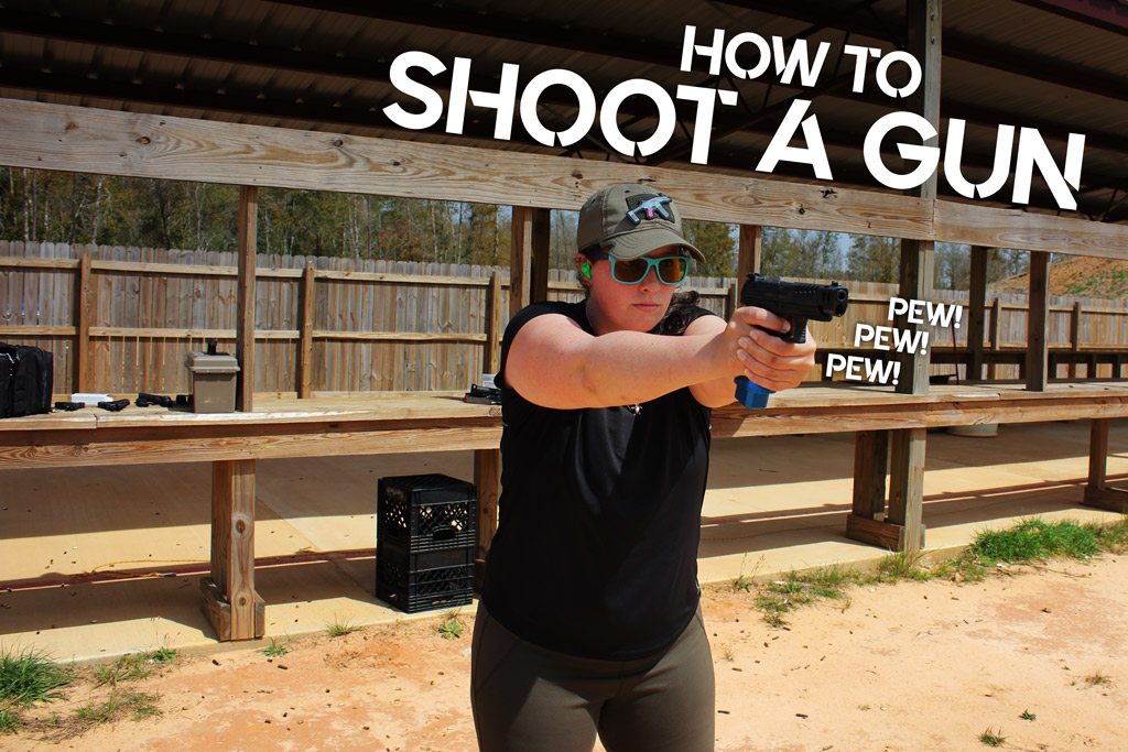photo of kenzie fitzpatrick demonstrating how to shoot a handgun