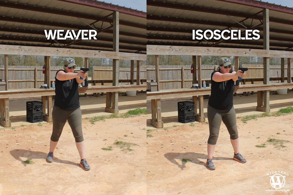 photo showing weaver and isoceles shooting stances as two ways to shoot a gun