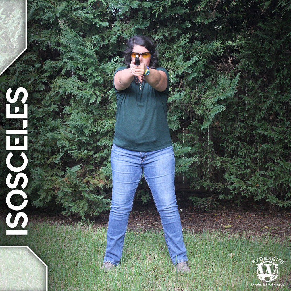 a photo of a female instructor demonstrating isosceles pistol shooting stances