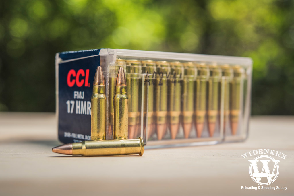 photo of CCI 17 HMR full metal jacket bullets outside