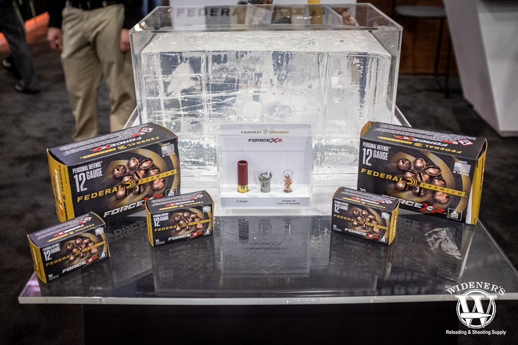 a photo of Federal Force X2 Personal Defense 12 gauge shotgun ammo at shot show 2020