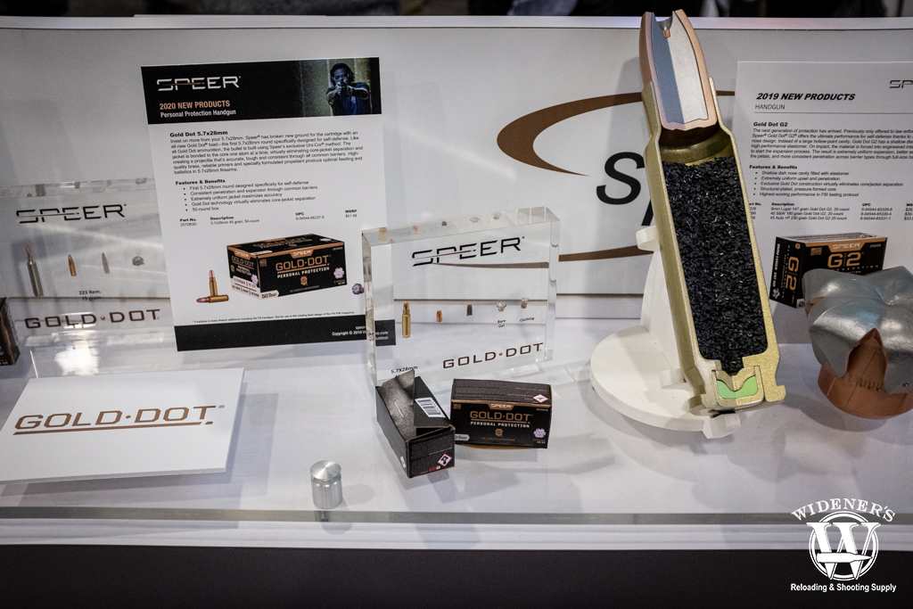 photo of the new speer Gold Dot 5.7x28mm cartridge at shot show 2020