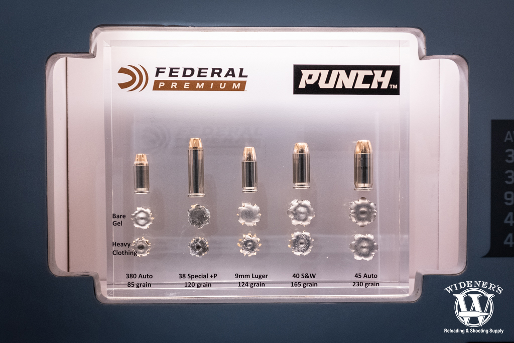 a photo of federal premium punch ammo in a variety of calibers at shot show 2020
