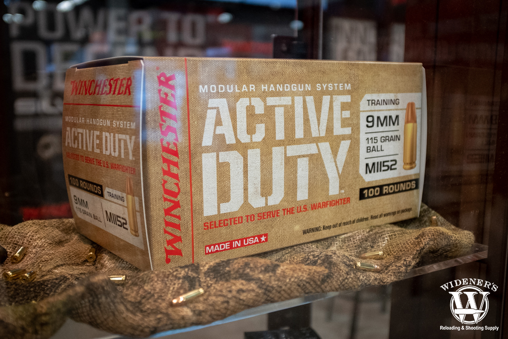 photo of winchester active duty 9mm M1152 115gr FMJ ammo