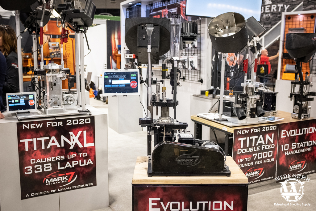 a photo of the lyman Mark 7 Evolution press at shot show 2020
