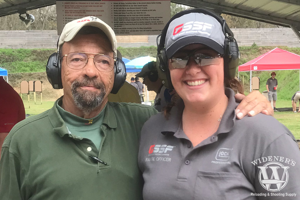 photo of a female shooter best home defense training with massad ayoob at a gun range