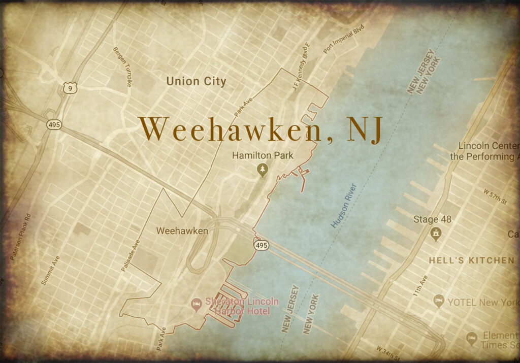 A map showing the location of a famous duel in Weehawken, NJ.