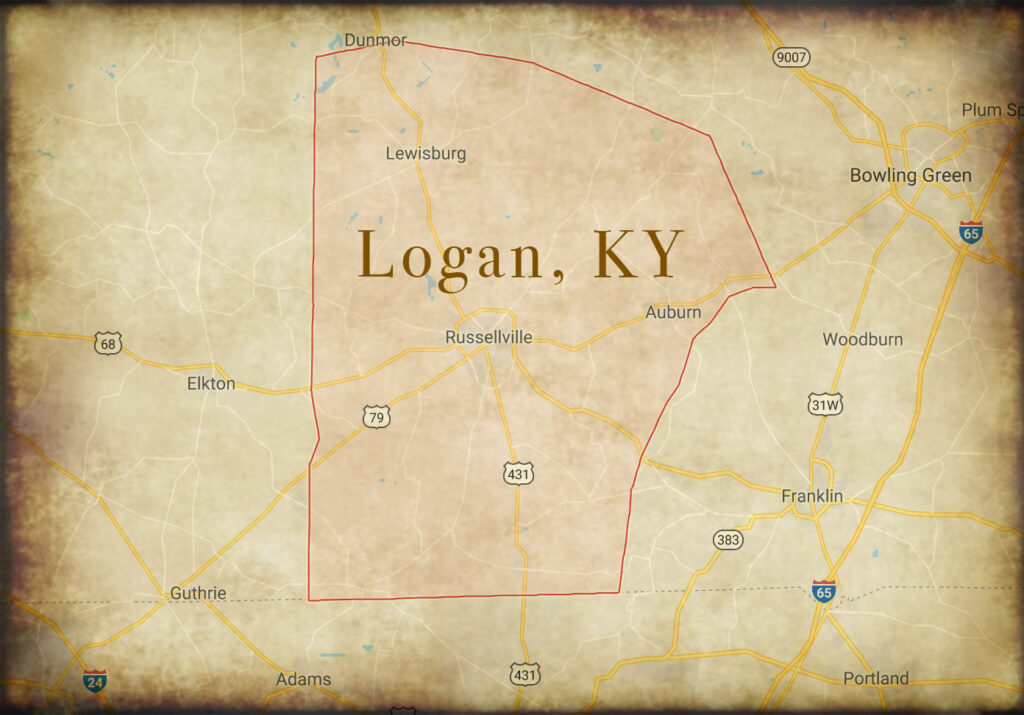 A map showing the location of a famous duel in Logan, Kentucky.