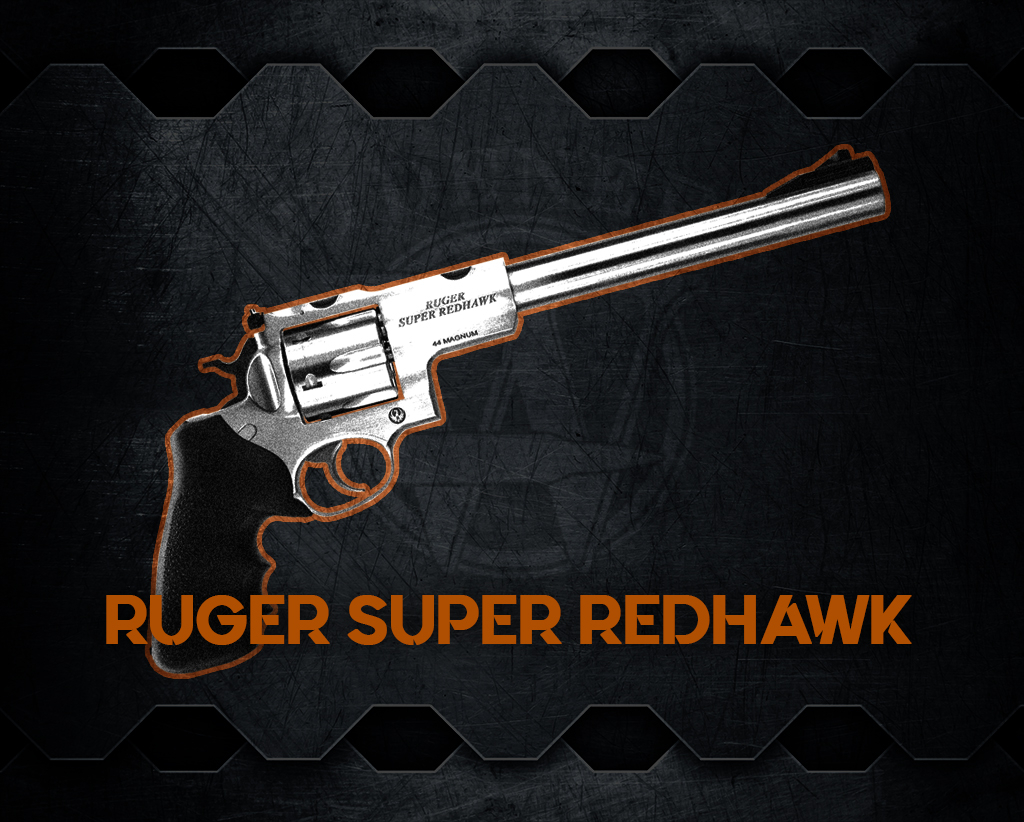 a graphic of the Ruger Super Redhawk handgun, one of the world's most powerful handguns