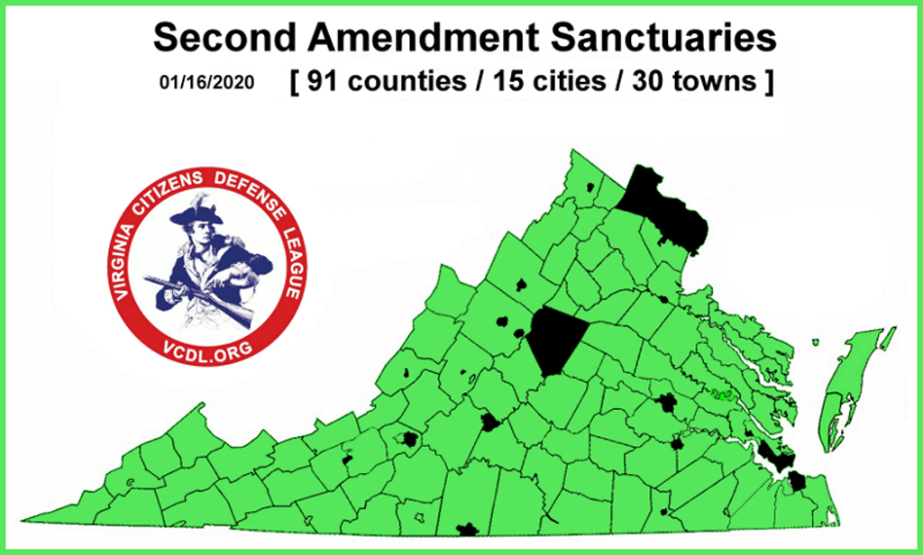 a chart showing second amendment sanctuaries in the state of virginia