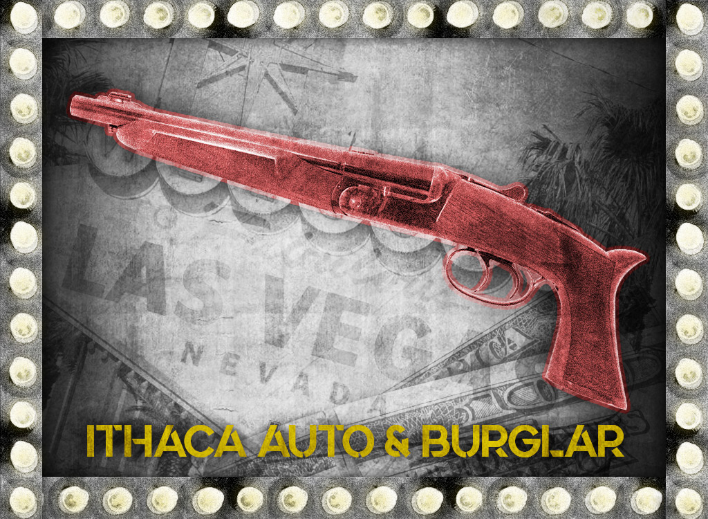a photo of ithaca auto and burglar shotgun bugsy siegel gun