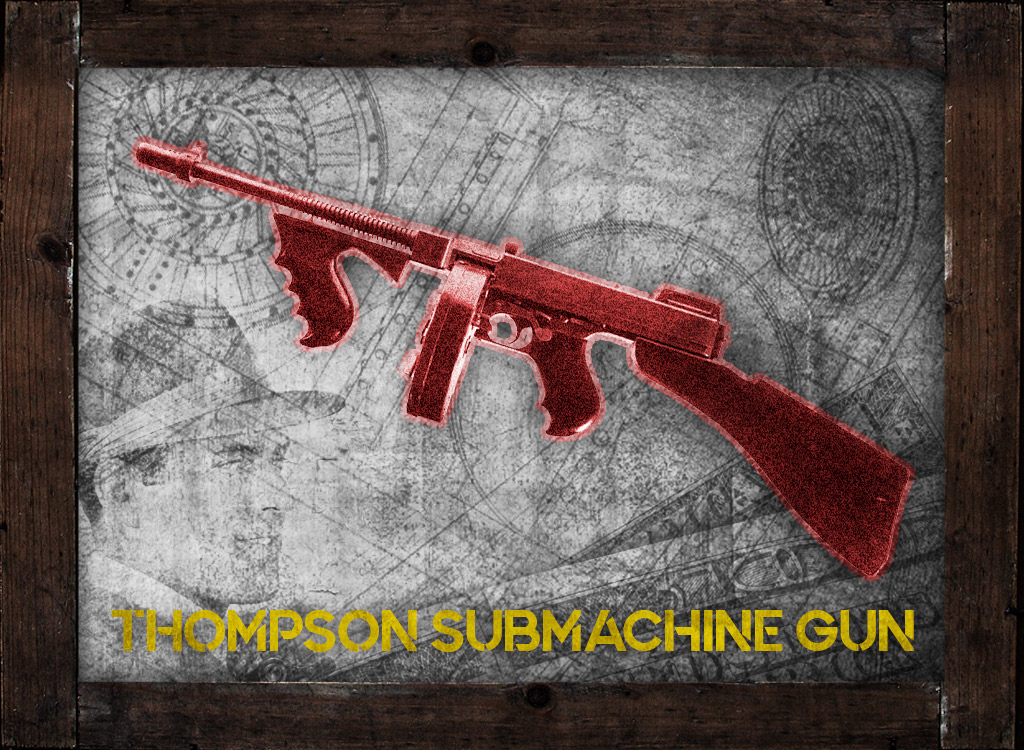 a photo of a 45 acp thompson submachine gun machine gun kelly gangster guns