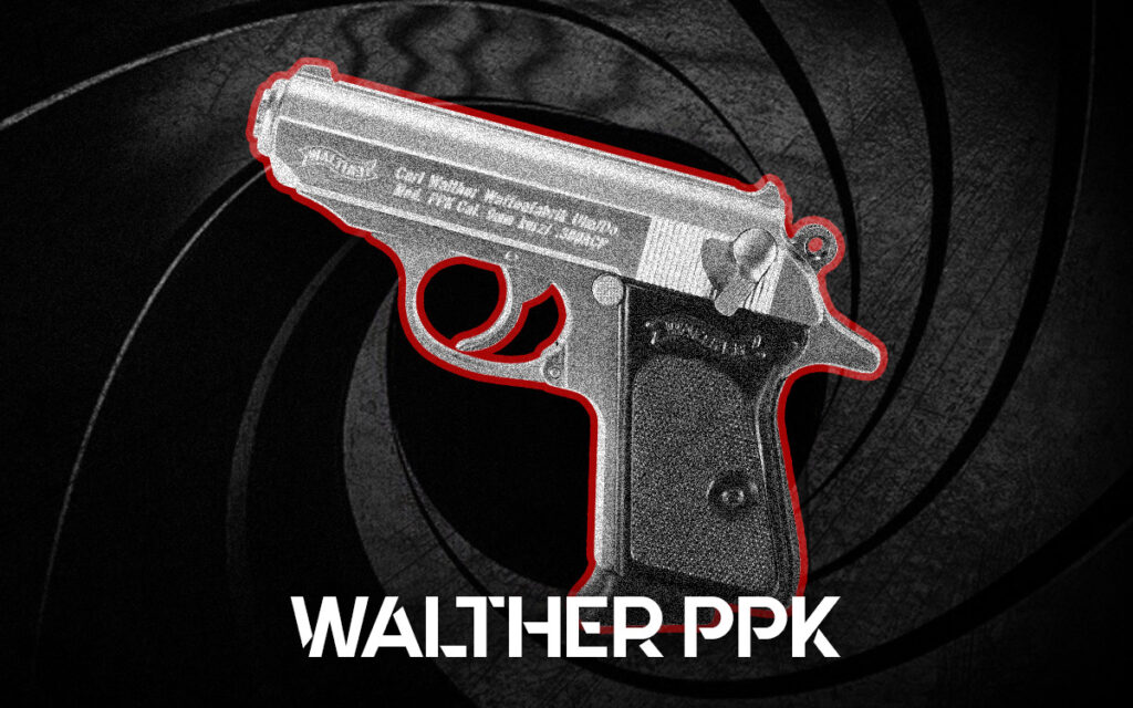 a photo of the Walther PPK james bond guns