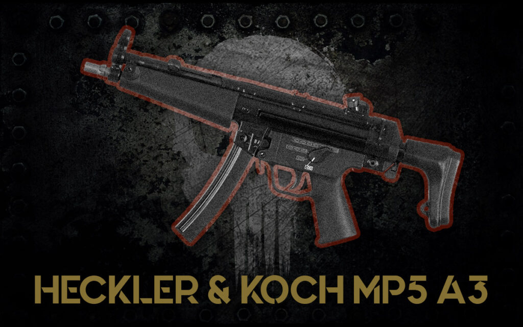a photo of the Heckler & Koch MP5 A3 guns of the punisher