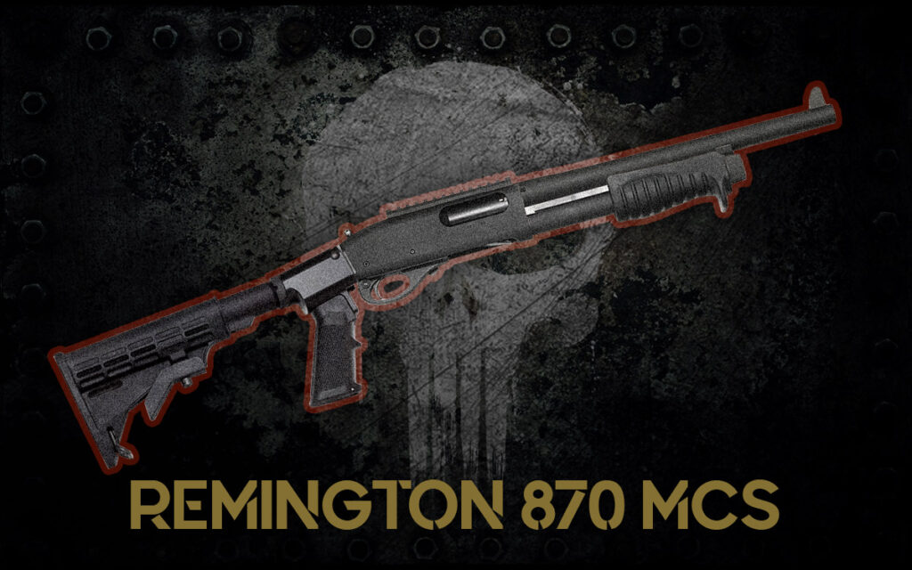 a photo of the Remington 870 MCS guns of the punisher