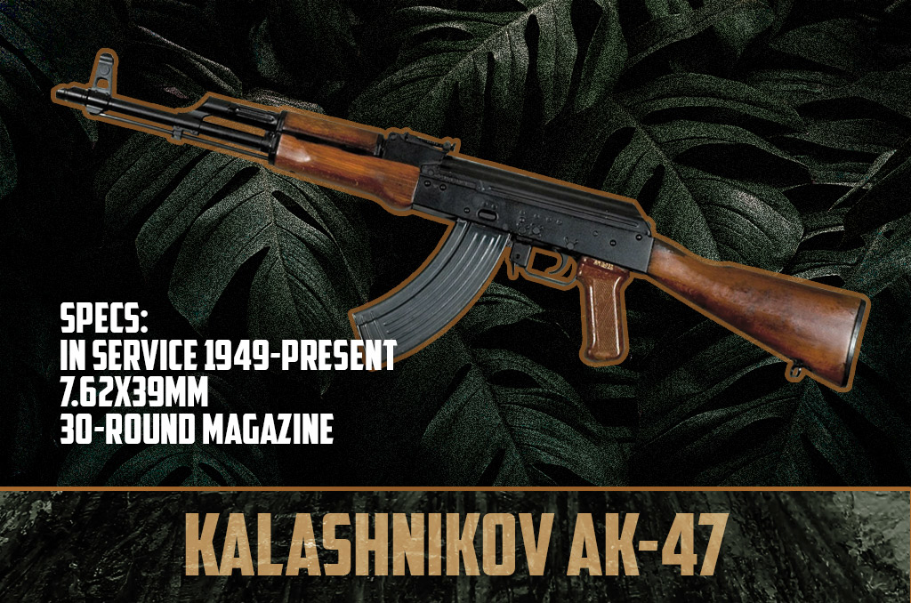 photo of kalashnikov ak-47 rifle vietnam war weapons
