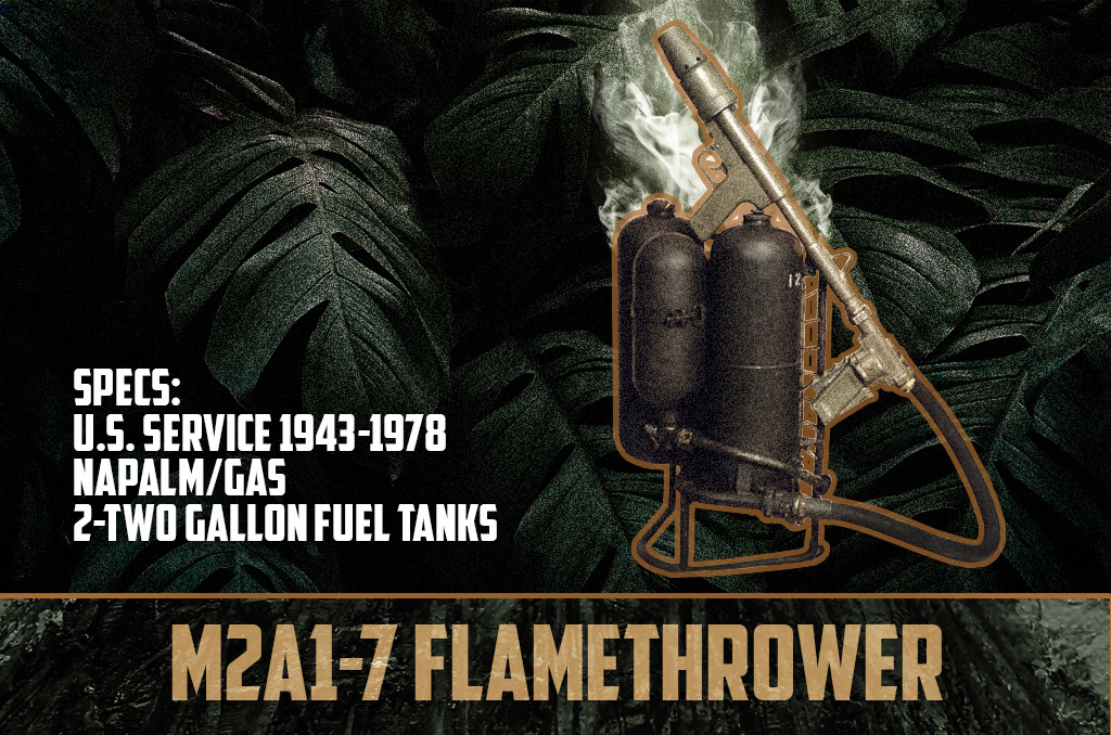 photo of the m2 m2a1-7 flamethrower vietnam war weapons