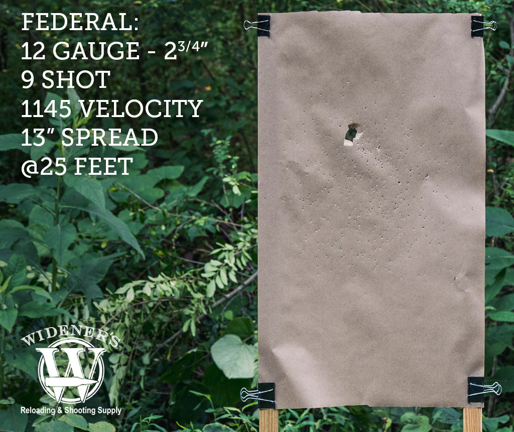 photo of shotgun target shot with Federal 12 Gauge 2-3/4 Inch Shell