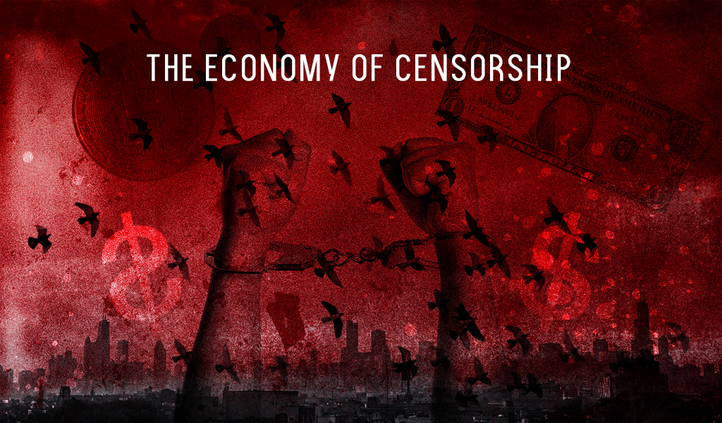 an illustration depicting the economy of censorship