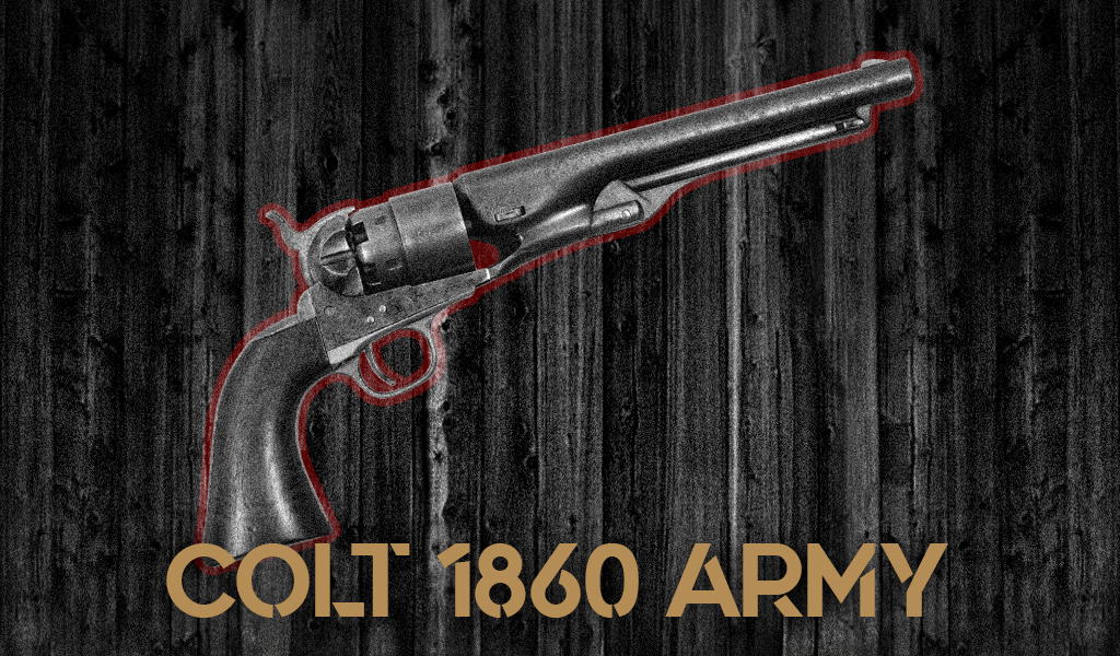 a photo of the Colt 1860 Army revolver guns of pale rider